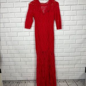 Lulu's only one red lace maxi dress | size medium
